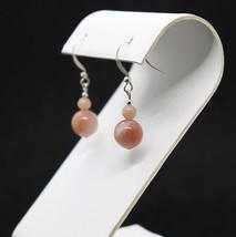 Pink Moonstone Bead Drop Earrings - $16.00