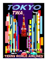 "TWA Vintage ""TOKYO""  Airlines 13 x 10 inch Flat Giclee CANVAS Print  (ty... - $19.95"