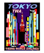"""TWA Vintage """"TOKYO""""  Airlines 13 x 10 inch Flat Giclee CANVAS Print  (ty... - $19.95"""