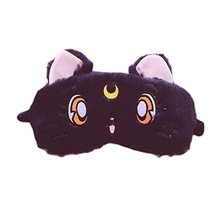 Fluffy Cat Face Sleep Eye Mask Moon Decor Eye Shade Blindfold for Home T... - €10,67 EUR