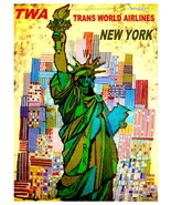 TWA Vintage Airline Travel to New York 13 x 10 in Giclee CANVAS Print (t... - $19.95