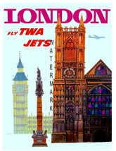 TWA Vintage Airline Travel to London 13 x 10 in... - $19.95