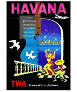 TWA Vintage Airline Travel to Havana 13 x 10 in Giclee CANVAS Print - $19.95