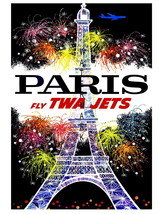 TWA Vintage Airline Travel to Paris 13 x 10 in Advertising Giclee CANVAS... - $19.95