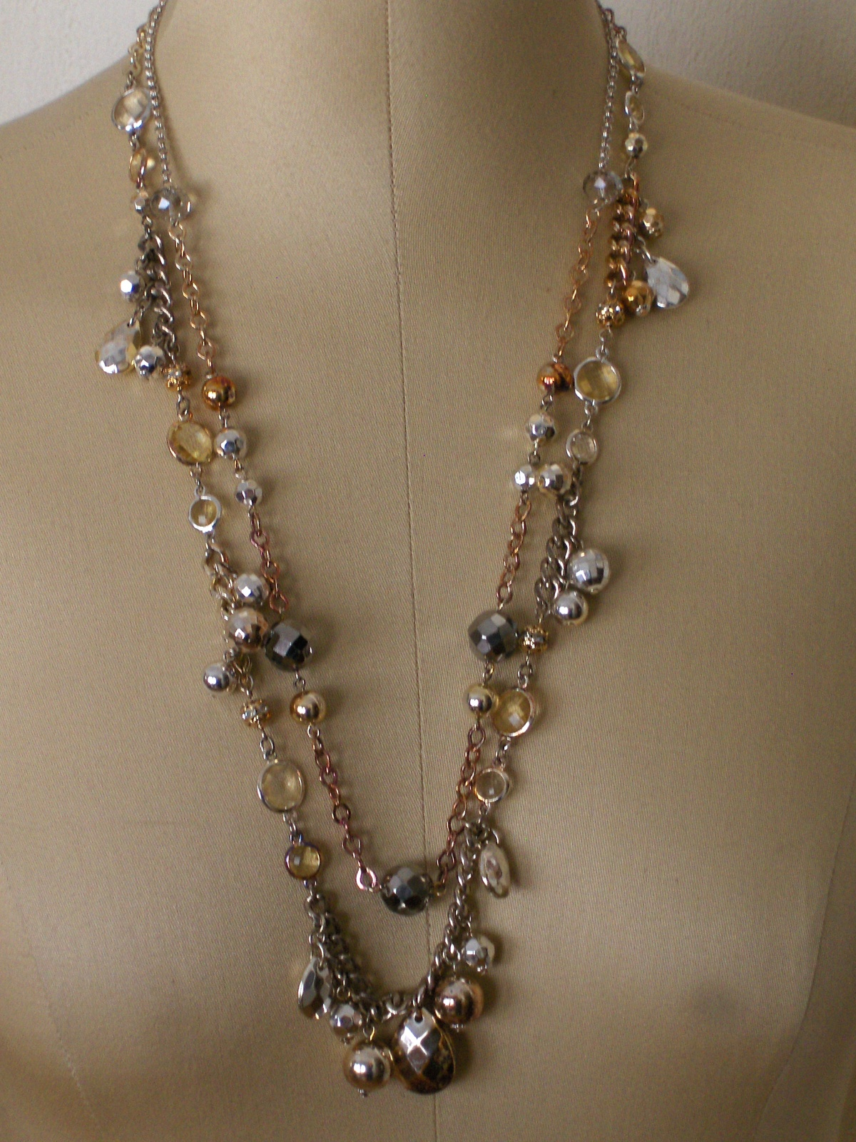 White House Black Market Necklace Faceted Beads and Crystals 29 Inch