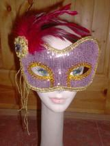 Rose/Gold Fancy Sequin Feather Flower Masquerade EYE MASK carnival mardi... - €10,27 EUR