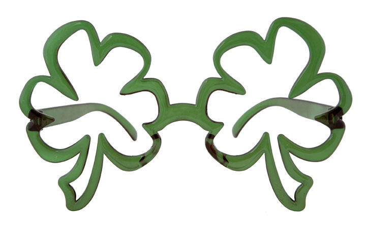 Oversized St Patricks Day Green Funky SHAMROCK GLASSES leprechaun Irish