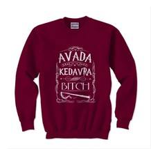 Adava Kedavra Bitch Crewneck Sweatshirt MAROON - $30.00+
