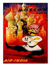 Air India Vintage Airline Travel to Moscow 13x10 in Advert Giclee CANVAS... - $19.95