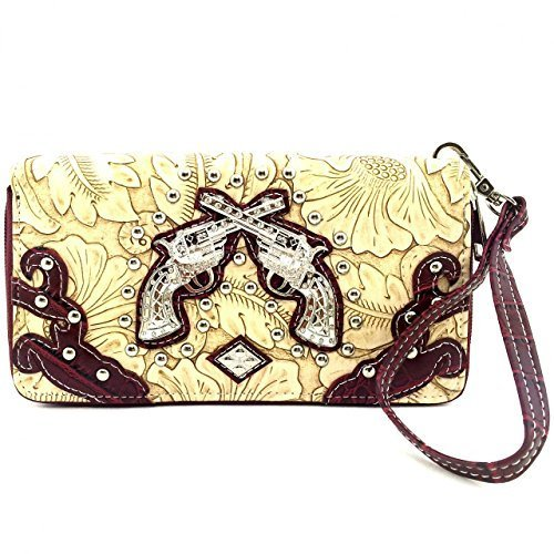 Western Rhinestone Pistols Zip Around Wallet Clutch Purse Wristlet (Red)