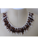 Crochet and Beads Choker Necklace Cream and Amber Fringe Adjustable Size - $24.97