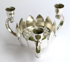 1950s Vintage Silver Plated Candle Holder with Lotus Bowl and Flower Fro... - $48.95
