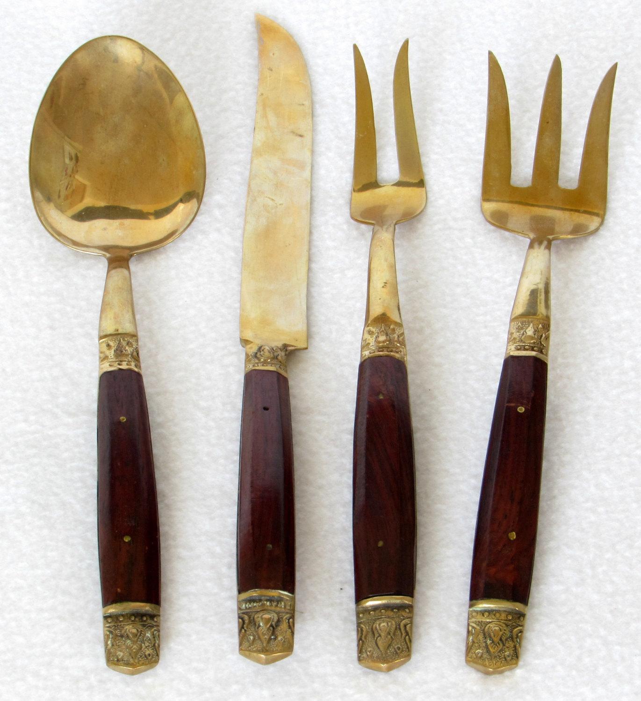 27 piece full size thai flatware serving set brass rosewood in original box other - Thailand silverware ...