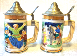 RARE Silver Capped Raised Relief Design Steins Pair - $95.00