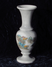 Rare Marble Vase with Hand Etched and Painted Asian Design Motif - $95.00