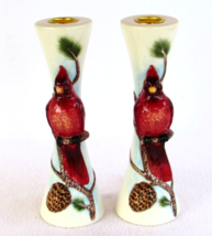 Cardinal Candle Holders - Red Birds on an Everg... - $70.00
