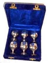 Vintage East Indian Silver Toasting Goblets in Royal Blue Lined Storage ... - $125.00