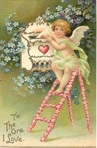 Cupid Valentine To The One I Love Vintage 1908  Post Card - $6.00