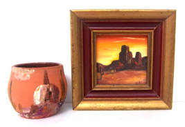 Original Miniature Painting and Terracotta Southwest Pottery Art Set - $64.00