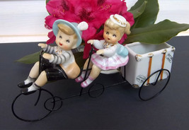 VERY RARE Newlyweds Couple Planter - Young Man and Woman Riding a Tandem... - ₨12,633.58 INR