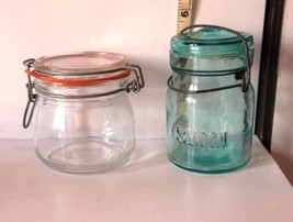 Vintage Lot of 2 Glass Canisters w/Wire Closures Clear Triomphe & Blue S... - $9.21