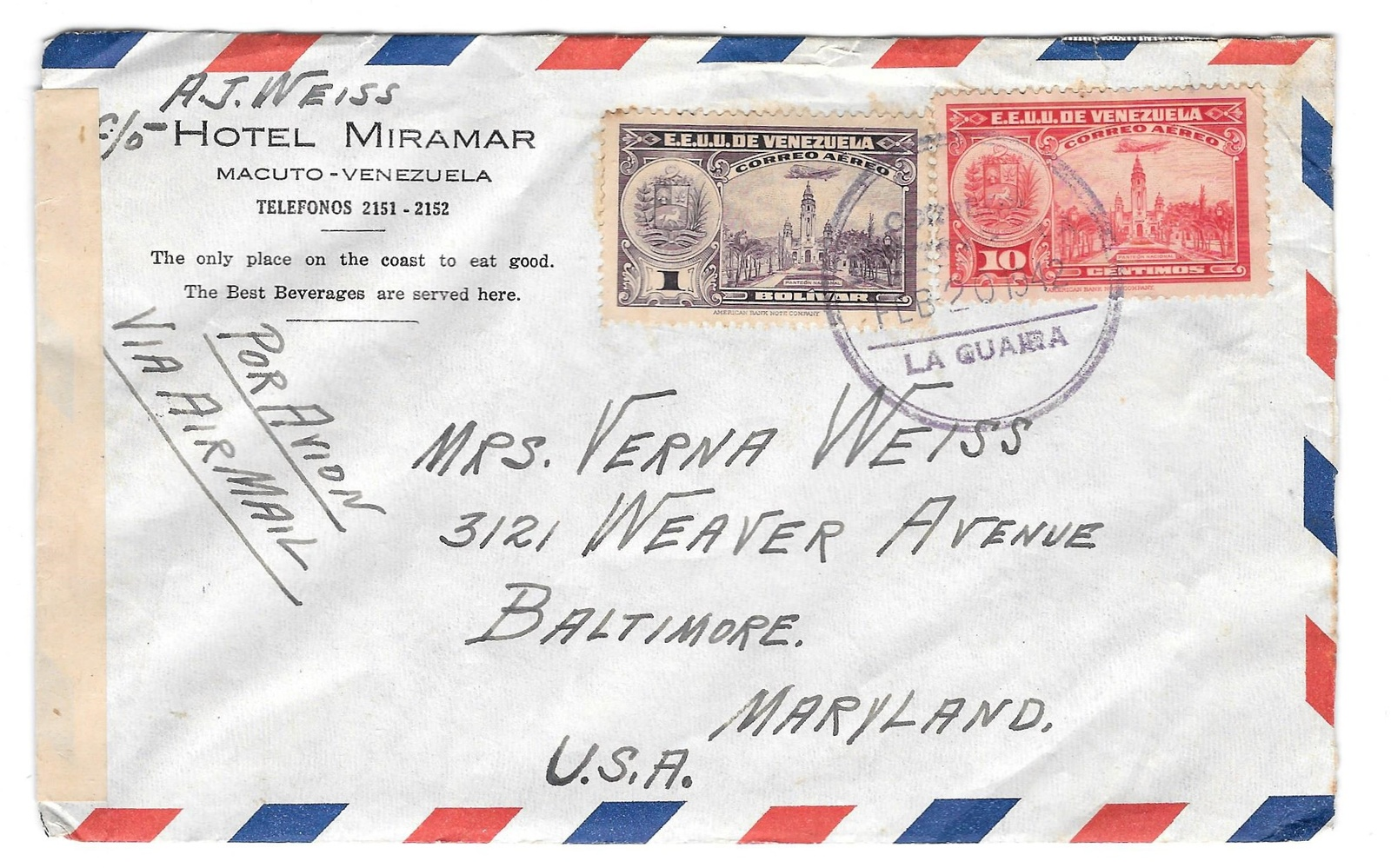 Venezuela Censored WWII 1942 Hotel Miramar Cover to US Clock Face Receiving