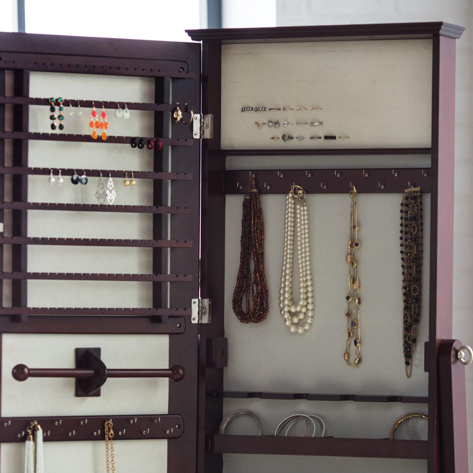 Cheval Mirror Jewelry Armoire Swivel Floor Standing ...