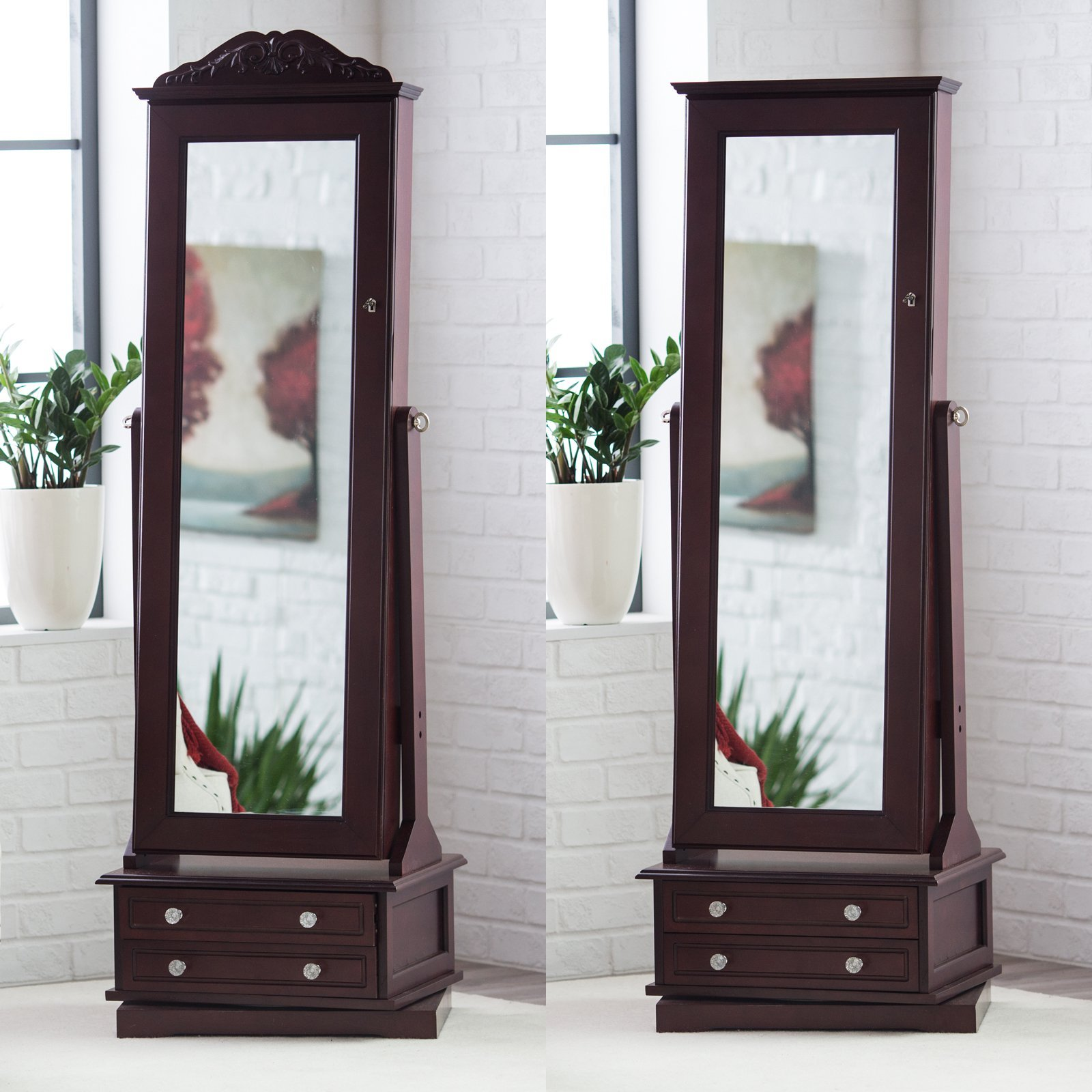 Cheval mirror jewelry armoire swivel floor standing for Mirror jewelry cabinet