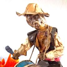 Unique Paper Mache Drummer Figural - Global Figurine - Cultural Sculptur... - $50.00