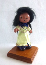 Traditional Folk Art Eskimo Doll with Papoose - Baby - Figurine on Wood ... - $40.00