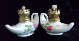 Fancy Porcelain Genie Oil Lamps with 22K Gold Gilded Accents - Vintage H... - $70.00
