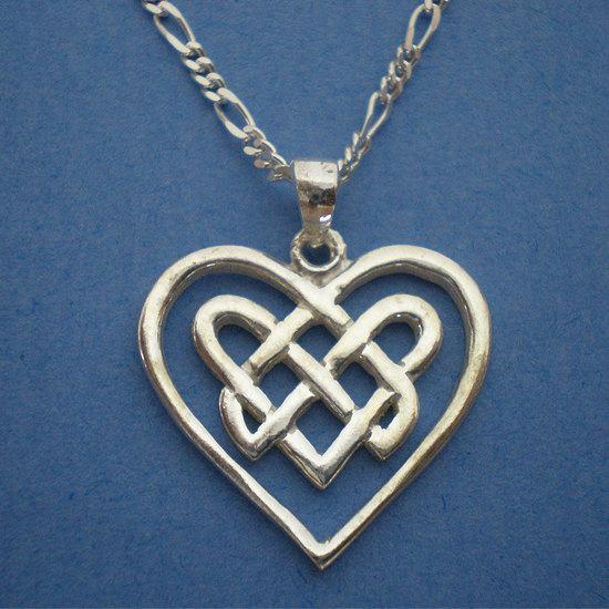 Irish Ireland Celtic Heart Knot  Silver Necklace