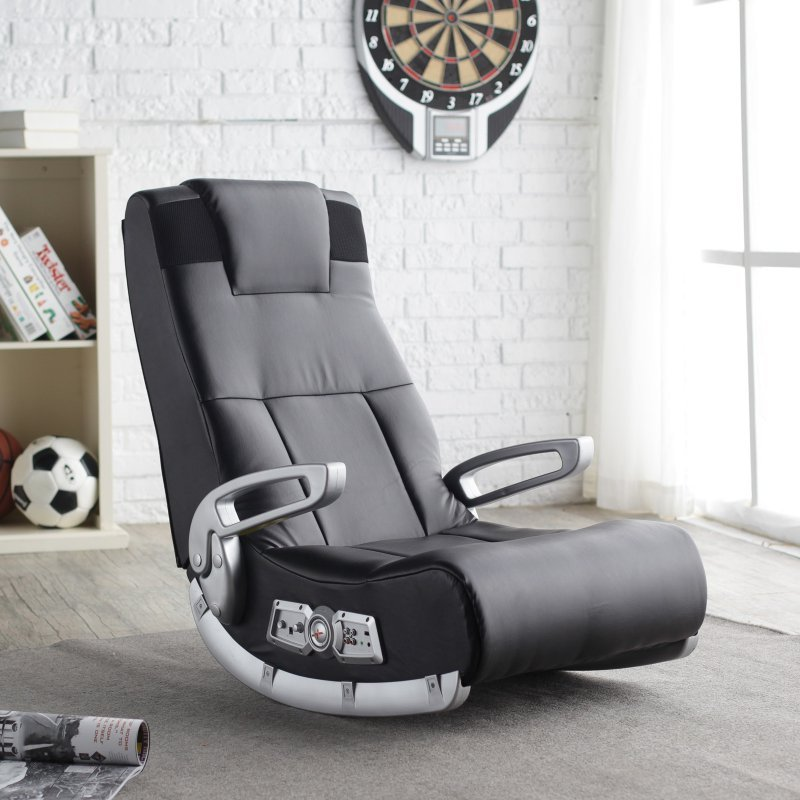 x rocker gaming chair black wireless sound speakers video xbox game ergonomic other. Black Bedroom Furniture Sets. Home Design Ideas