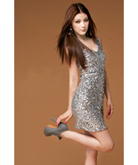 Glamorous Girl. Sexy Chic Sparkling Silver Sequins Mini Dress.Cocktail P... - $63.00