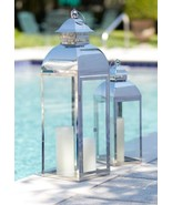 Set of 2 Vintage-Style Stainless Steel & Glass Pillar Candle Holder Lant... - $148.20