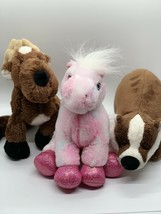 Webkinz Lot Plush Pink Pony Reindeer Badger Stuffed Animal Toys No Codes - $14.85