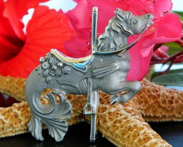 Merhorse Seahorse Carousel Brooch Pin Figural Mer-Horse Silver Signed - $24.95