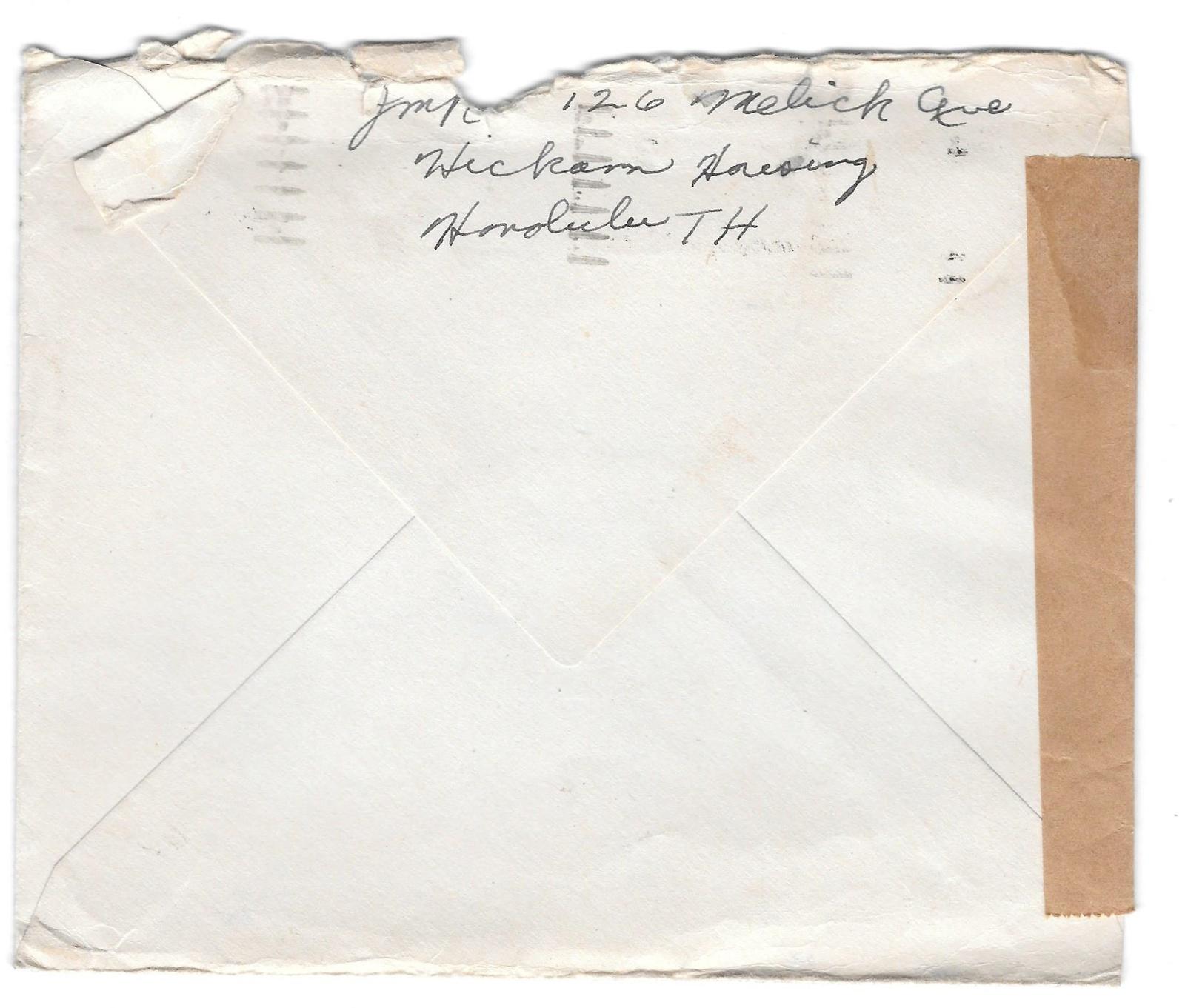 1943 WWII Censored Cover Honolulu Hawaii To US OVO Censor 11078