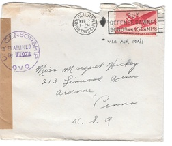 1943 WWII Censored Cover Honolulu Hawaii To US OVO Censor 11078 - $4.99