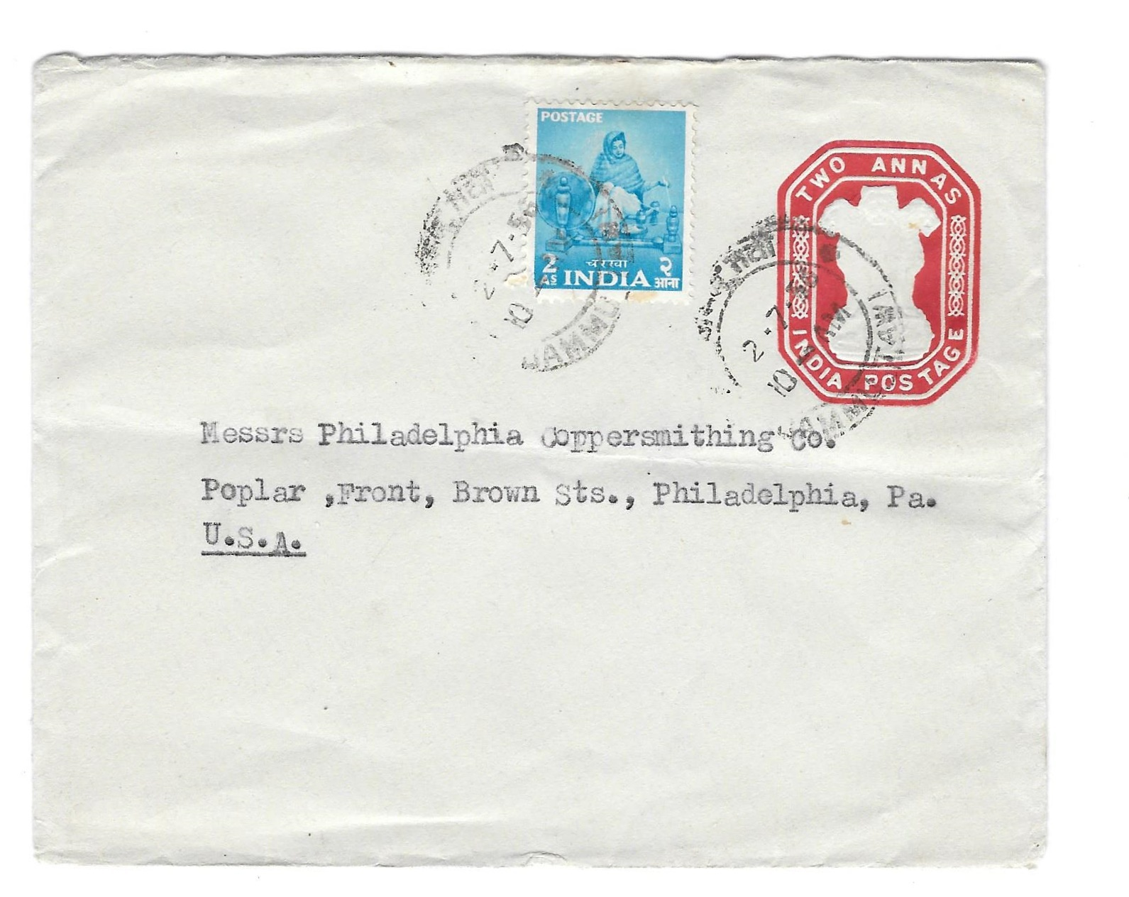India 1956 2 Anna Stamped Envelope Postal Stationery uprated w Sc 258 to US