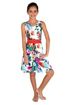Blush by Us Angels Tween Big Girls 7-16 Tropical Island Floral Print Piqué Dress