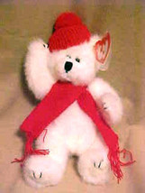 Soft Plush Ty Attic Treasure Peppermint The Polar Bear In Red Scarf Retired - $9.84