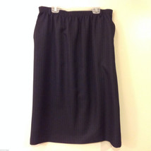 Alred Dunner Women's Size 14 A-Line Skirt Dark Navy Blue, Red & Blue Pinstripes