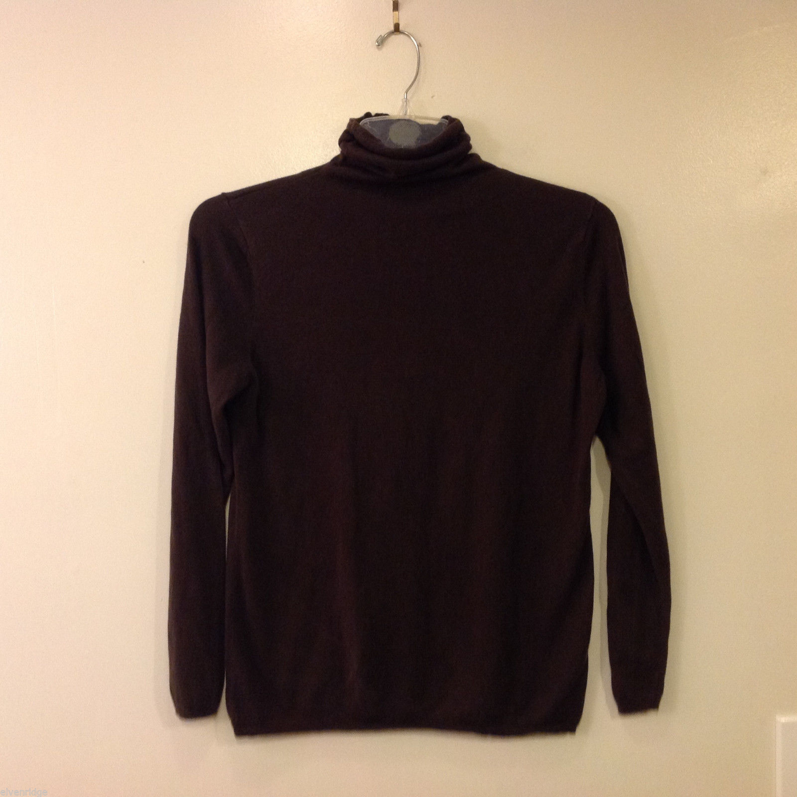 Chico's Women's Size L Turtleneck Silk Cashmere Blend Sweater Chocolate Brown
