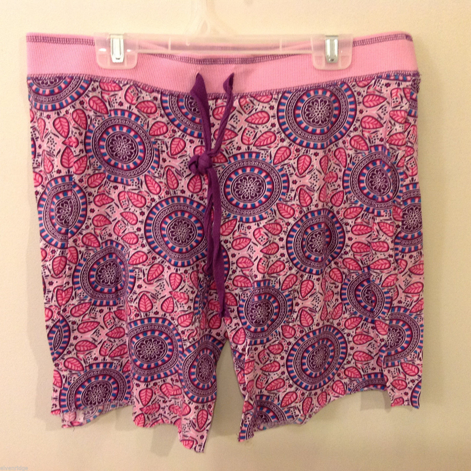 Cynthia Rowley Women's Size M Drawstring Shorts Pink Purple Blue Medallion Print