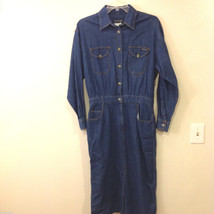 Herve Bernard Women's Size 14 Denim Utility Shirt Dress Medium Wash Long Sleeves