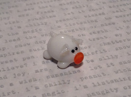 Mini Figurine Hand Blown Glass White Pig  Made in USA