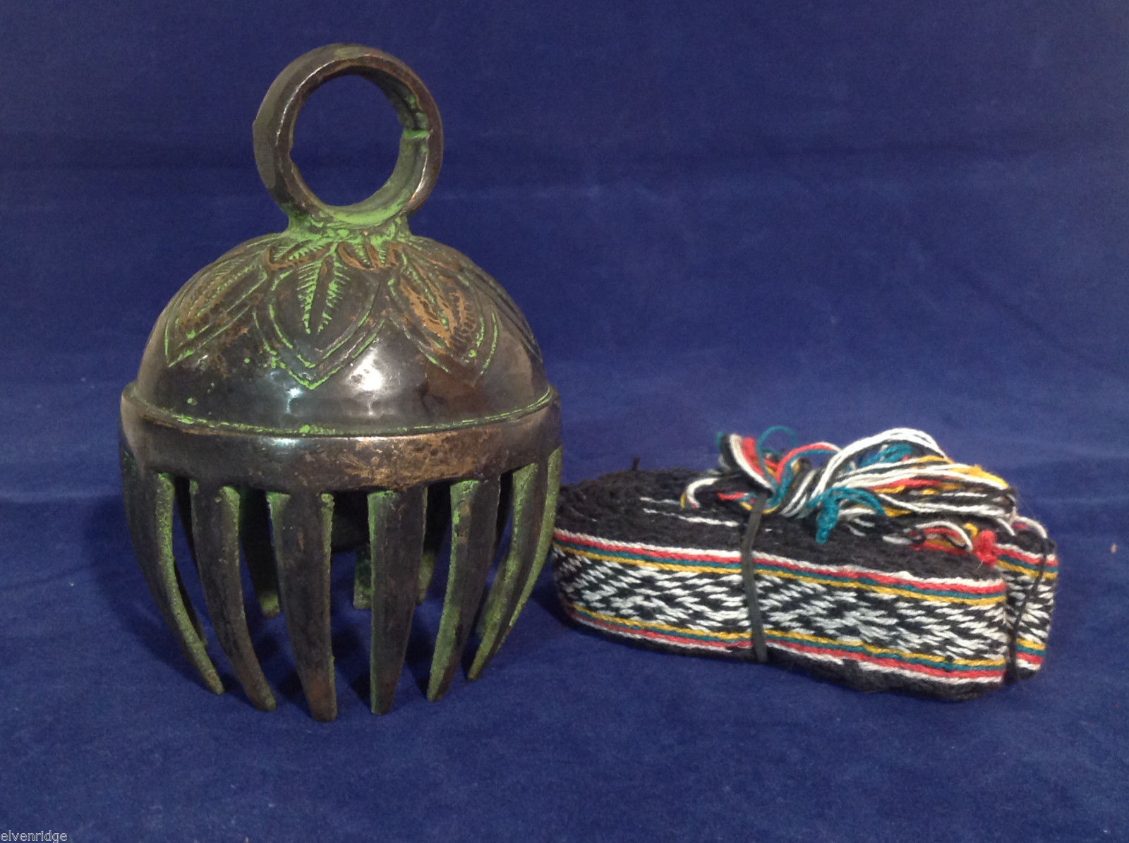 Large Ornate Tibetan Cowbell Cow Bell w/ Colorful Hand-Woven Strap 4.5 X 3 #3