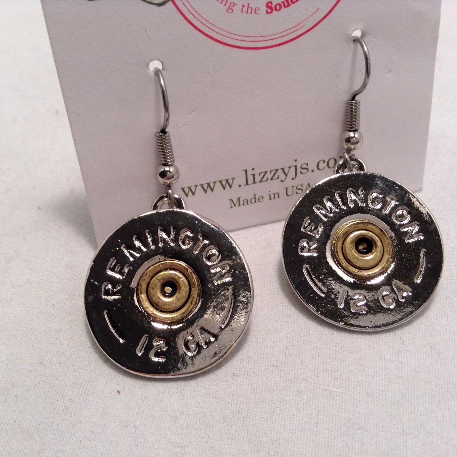 Lizzy J single dangle traditional silver spent shotgun shell cap earrings USA