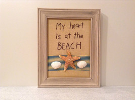 My Heart is at the Beach Decorative Picture in Wood Frame Primitives by Kathy